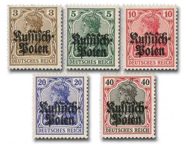 Dt. Besetzung Dt. Post in Polen MiNr. 1/5 ** Germania m.Aufdr.Russisch-Polen