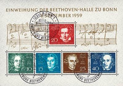 BRD Bl. 2 MiNr. 315/19 o Einweihung der Beethoven-Halle