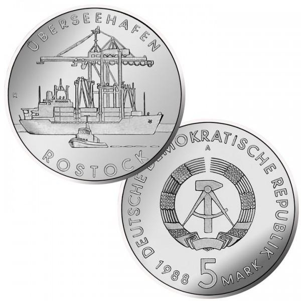 DDR Münze 1988, 5 M, PP 30 Jahre Überseehafen Rostock