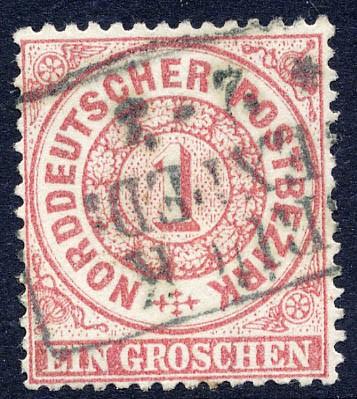 Norddeutscher Postbezirk MiNr. 16 o 1 Groschen / karminrot