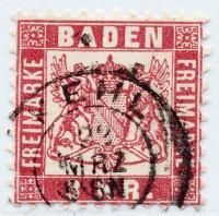 Baden MiNr. 24 o 3 Kreuzer / rosarot / Währung -gek.