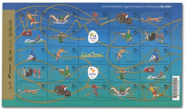 Brasilien Rio 2016, 1 Kleinbogen III ** Motive Tennis bis Springreiten (25 Werte)