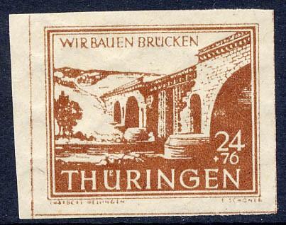 SBZ Thür. MiNr. 115 by ** gepr. 24 + 76 Pf Wiederaufbau Brücken