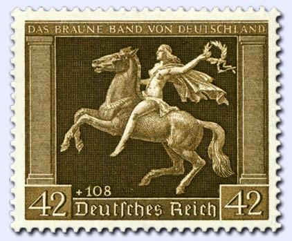 "Dt. Reich MiNr. 671x ** ""Das Braune Band"" 1938 / senkr. Gummirifflung"