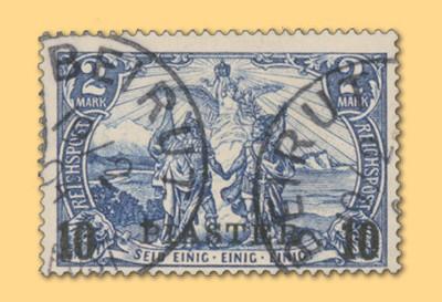 Dt. Post in d. Türkei MiNr. 21I o gepr. FM Reichspost 10 Pia auf 2M
