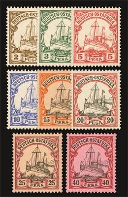 Dt. Kolonien Ostafrika MiNr. 11/18 ** FM: Kaiseryacht - nur Pesa-Werte (Kurzsatz)