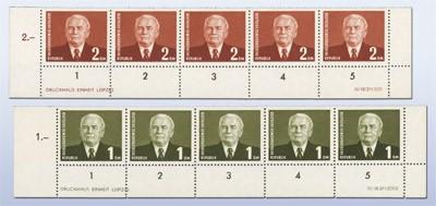 DDR MiNr. 342/43a ** Kompl. Bogenrand m. DV u. DZ Freimarken: Pieck III