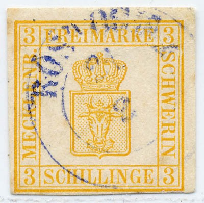 Mecklenb.-Schwerin MiNr. 2b o 3 S gelblichorange