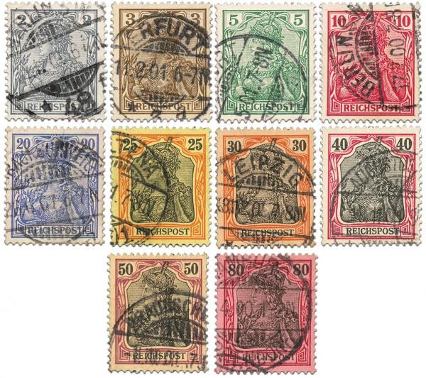 """Dt. Reich MiNr. 53/62 o Germania (I) Inschrift """"REICHSPOST"""""""
