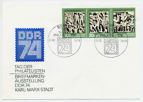 """DDR FDC MiNr. 1988/90 Zdr. Tag d. Philatelisten, Briefm. -Ausst. """"DDR 74"""""""