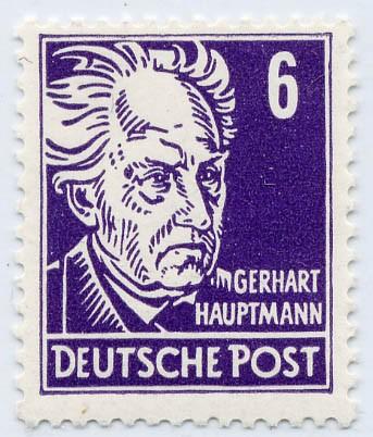 DDR MiNr. 328 vYI ** 6Pf Persönlichkeiten (G. Hauptmann)