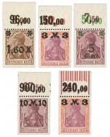 Dt. Reich MiNr. 154/57IP OR + 155IW OR ** FM: Germania (IX), 5 Werte
