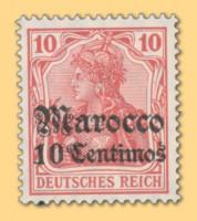 Dt. Post in Marokko MiNr. 36 ** 10C auf 10Pf