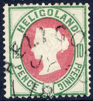 Helgoland MiNr. 14c o 10Pf/1 1/2 P bläul.grün/rötl.karmin