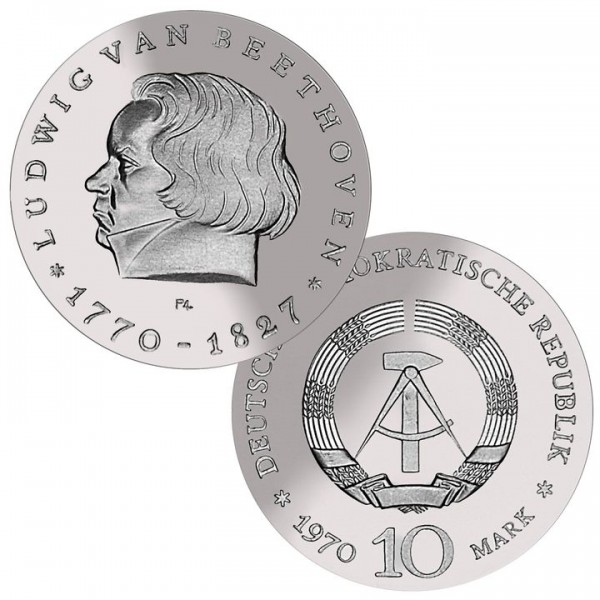 DDR Münze 1970, 10 M, st 200. Geb. L.van Beethoven