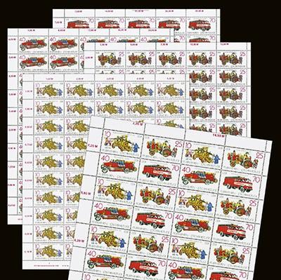DDR Bogenkollektion MiNr. 3101/04 ** Feuerwehren, 5 Bogen inkl. Sammelblätter