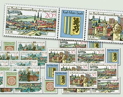 DDR Zdr.-Kombinat. MiNr. 3173/76 ** Briefmarkenausst.d.Jugend (WZd 747 - 758)