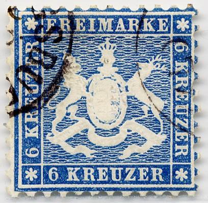 Württemberg MiNr. 27a o 6 Kreuzer, lebhaftblau bis blau, K10