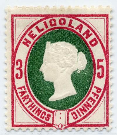 Helgoland MiNr. 13b * 3Pf/5F lilakarmin(rot)/grün