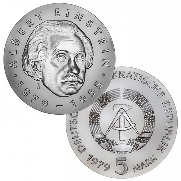 DDR Münze 1979, 5 M, PP 100. Geburtstag Albert Einstein