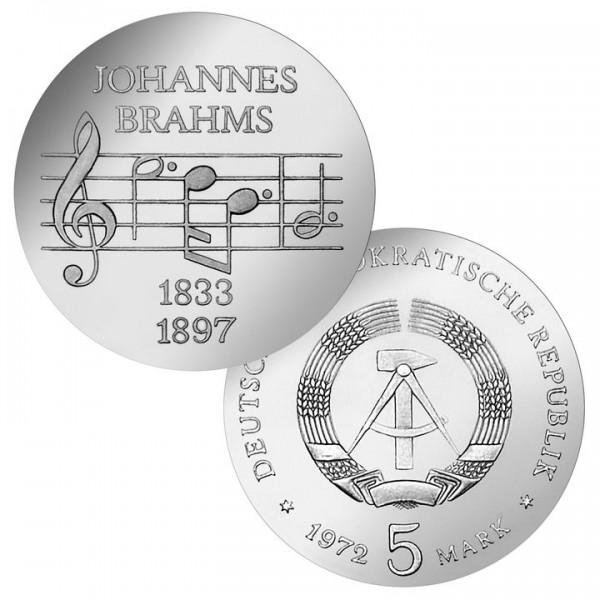 DDR Münze 1972, 5 M, st 75. Todestag Johannes Brahms