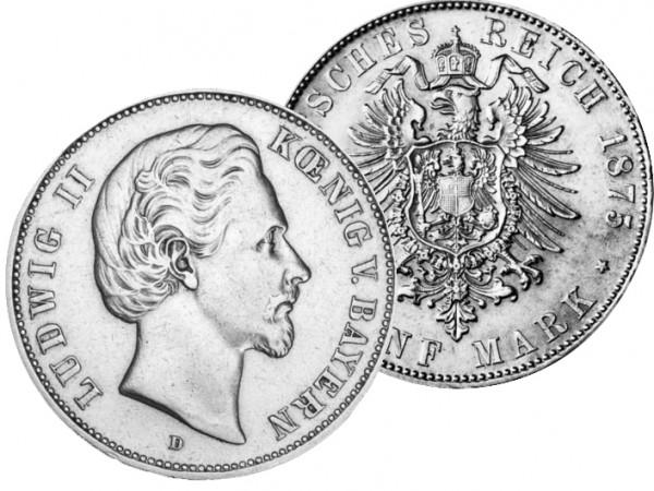 Bayern Münze 1876, 5 M, s/ss Ludwig II.