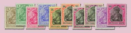 """Dt. Reich MiNr. 84/93 II ** Germania IV, sogen. """"Kriegsdruck"""""""