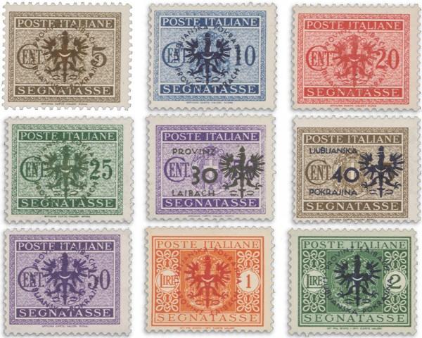 Dt. Besetzung Laibach MiNr. 1-9 ** Portomarken m. Aufdruck
