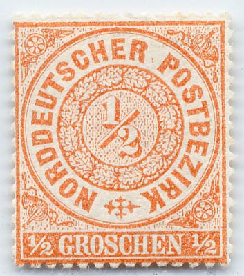 Norddeutscher Postbezirk MiNr. 15 * 1/2 Groschen / mittelorange