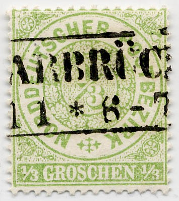 Norddeutscher Postbezirk MiNr. 14 o 1/3 Groschen / gelblichgrün