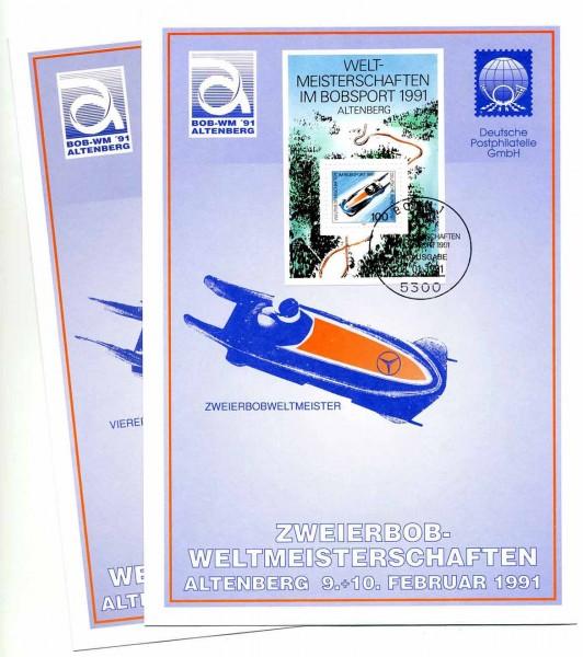 DDR Gedenkblatt G17 WM im Zweierbob Altenberg