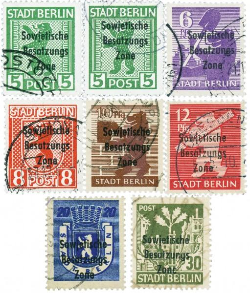 SBZ Allg.A. MiNr. 200-06 o Berlin-Brandenburg mit Aufdruck