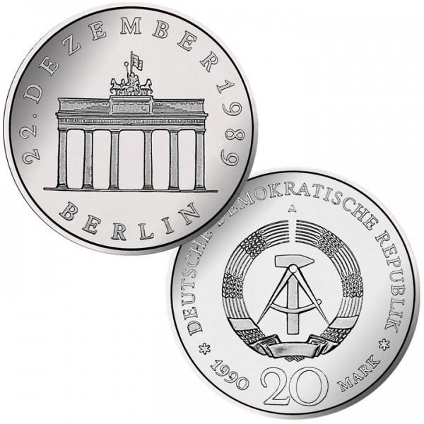 DDR Münze 1990, 20 M, FS Öffnung Brandenburger Tor