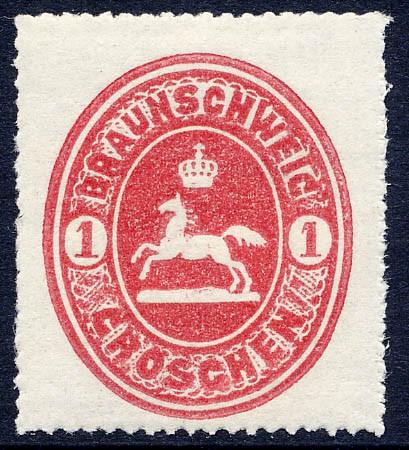 Braunschweig MiNr. 18 * 1 Groschen / karminrot