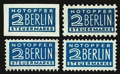 Bizone ZZ MiNr 1,2,6,8 ** Set: 4 Marken Notopfer Berlin