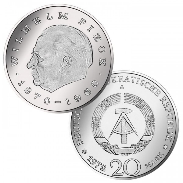 DDR Münze 1972, 20 M, vz Wilhelm Pieck