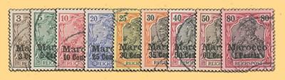 Dt. Post in Marokko MiNr. 7/15 o FM - KS Germania Pfennigwerte (9 Werte)