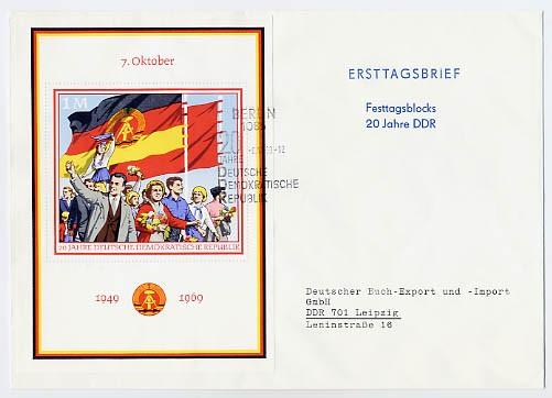 DDR FDC Bl. 29 MiNr. 1508 20 Jahre DDR