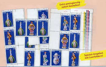 DDR Zdr.-Kombinat. MiNr. 2464/71 ** , breiter R. Meiß.Porzellan (WZd 423-438,SZd 183-198)