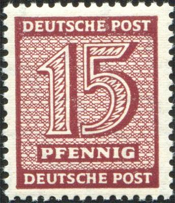 SBZ West-Sa. MiNr. 133 Y wb ** gepr. 15 Pf Freimarke Ziffern