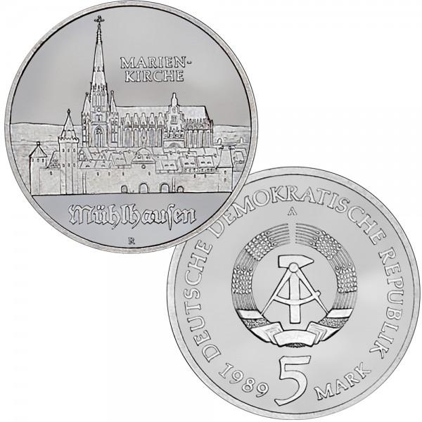 DDR Münze 1989, 5 M, st Marienkirche Mühlhausen