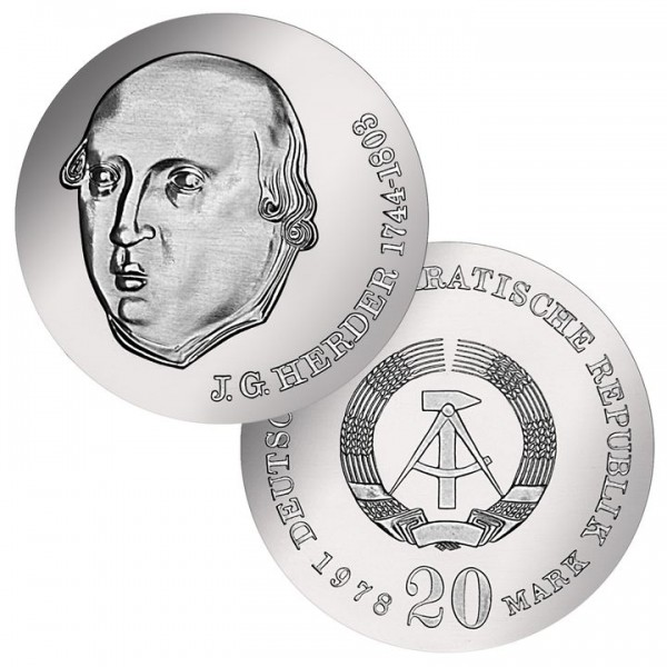 DDR Münze 1978, 20 M, PP 175. Todestag Johann G. Herder