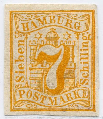 Hamburg MiNr. 6 (*) 7 Schilling / orange