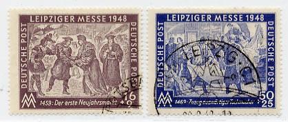 SBZ Allg.A. MiNr. 198/99 o Leipziger Herbstmesse 1948