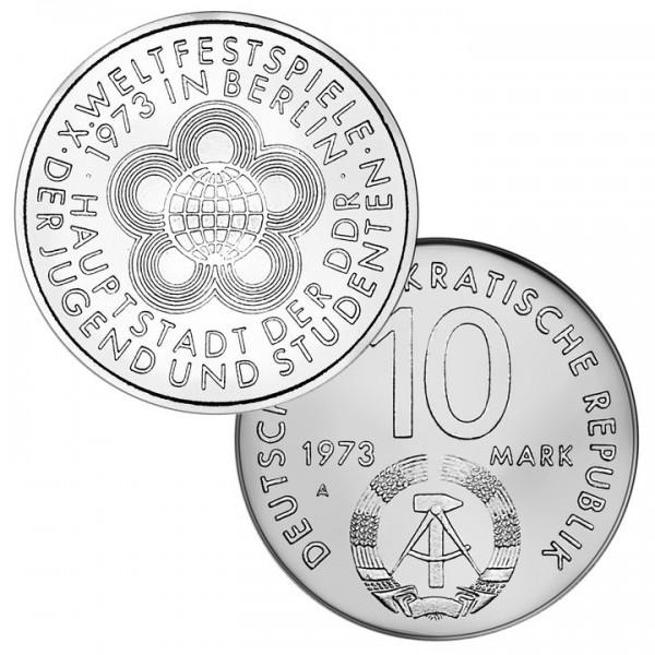 DDR Münze 1973, 10 M, vz X. Weltfestspiele in Berlin
