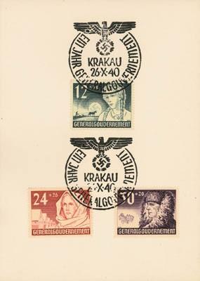 Generalgouvernement MiNr. 56/58 Gedenkkarte 1 Jahr Generalgouvernement mit Sonderstempel