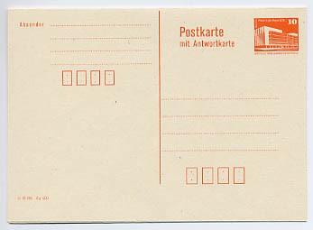 DDR Ganzsache P 88 * 10/10Pf. Bauwerke mit Postleitzahlf.Wz.orange