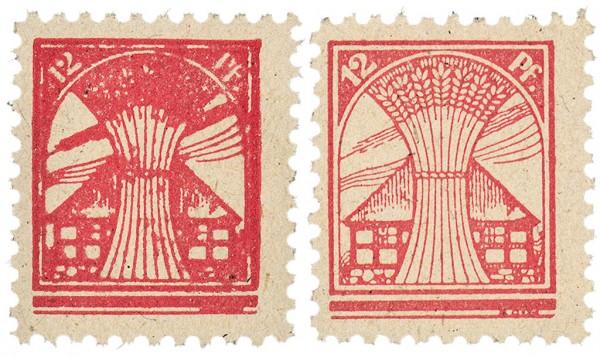 SBZ M./V. MiNr. 18 I + 18 II ** 12 Pf. von Platte 1+2