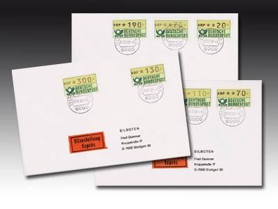 BRD ATM Versandstellen-Satz VS2 a.Brief, echt gel. St. 1.07.82, Ergänzungswerte