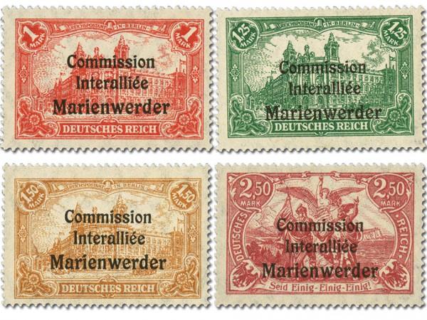 Dt. Abst.Geb. Marienwerder MiNr. 26/29 ** Aufdruckmarken